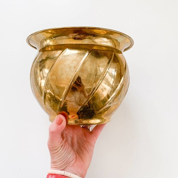 Vintage Brass Planter Bowl
